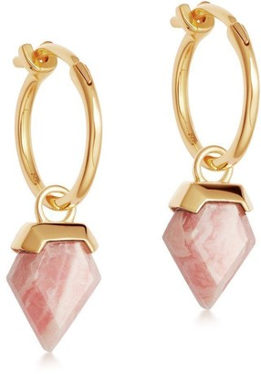 Missoma Rhodochrosite Gold Mini Shield Hinged Hoops