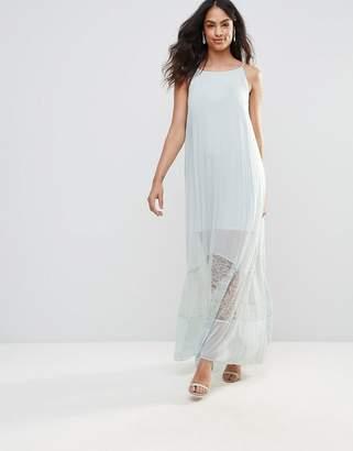 BCBGMAXAZRIA Sheer Maxi Dress with Lace Hem-Blue