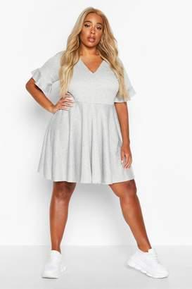 boohoo Plus Ruffle Sweat Smock Dress
