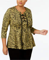 Melissa McCarthy Trendy Plus Size Lace-Up Peplum Top