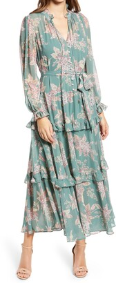 Ever New Floral Long Sleeve Tiered Dress