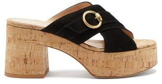 Gianvito Rossi Cork-platform Suede Sandals - Black