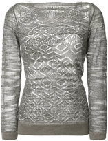 D-Exterior D.Exterior - open knit boat neck jumper - women - Linen/Flax/Nylon/Polyester/Viscose - XS