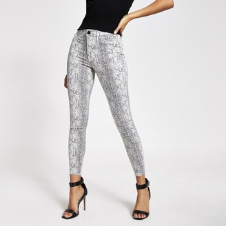River Island Womens Grey snake printed Molly mid rise jeggings
