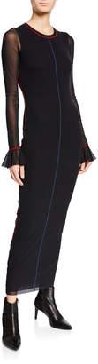 Fuzzi Body-Con Ruffle-Sleeve Dress w/ Contrast Seaming Details