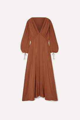 The Row Sante Gathered Silk Crepe De Chine Maxi Dress - Brick
