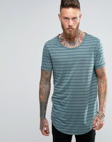 Asos Super Longline T-Shirt With Scoop Neck And Curved Hem In Sheer Stripe