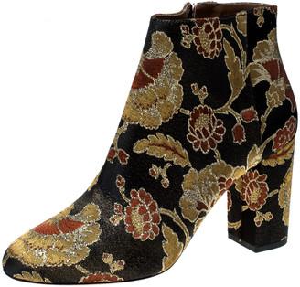 Aquazzura Multicolor Floral Brocade Fabric Brooklyn Oriental Ankle Boots Size 40