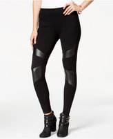 Material Girl Juniors' Faux Leather-Trim Leggings, Only at Macy's
