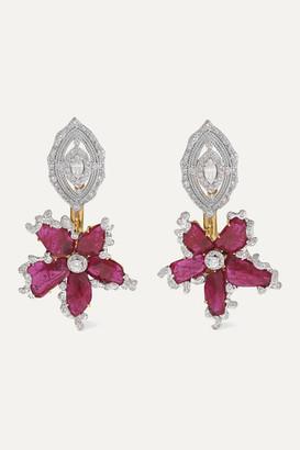 Bina Goenka 18-karat Gold, Ruby And Diamond Earrings - one size