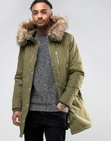 Pull&Bear Parka With Faux Fur Hood In Khaki