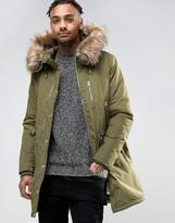 Pull&bear Parka With Faux Fur Hood In Khaki