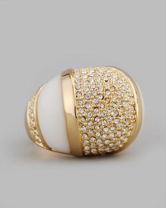 Rachel Zoe Domed Crystal Ring, White