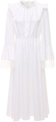 Giambattista Valli Cotton Poplin Long Dress W/ Lace Cuffs
