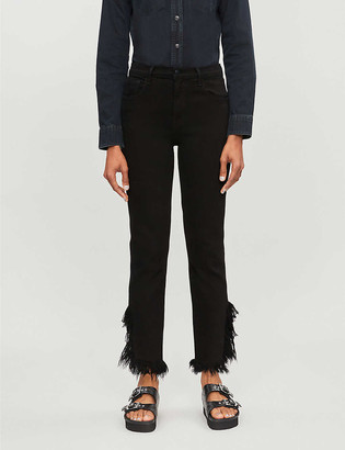 J Brand Ruby frayed-hem high-rise jeans