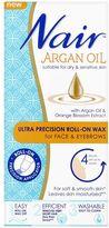 Nair Argan Oil Ultra Precision Roll-on Wax for Face & Eyebrows 15ml