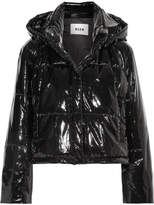 MSGM Hooded Quilted Pvc Jacket - Black
