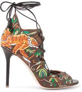 Malone Souliers Savannah Embroidered Canvas Sandals - Dark brown