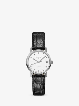 Longines L43224122 Women's Presence Automatic Date Leather Strap Watch, Black/White