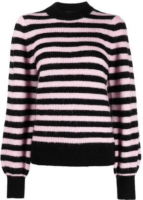 Ganni Horizontal-Stripe Puff-Sleeve Jumper