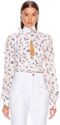 BROGNANO Floral Tie Neck Top in Multi | FWRD