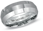 Zales 8.0mm Personalized Comfort Fit Beveled Wedding Band in Cobalt Chrome (46 Characters)
