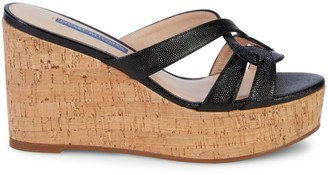 Stuart Weitzman Cadence Cork & Leather Platform Wedge Sandals