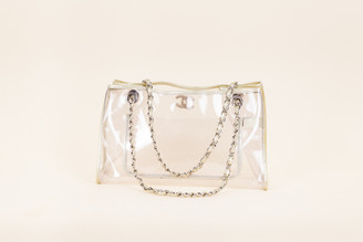 Chanel Clear Vinyl and Leather Small Tote