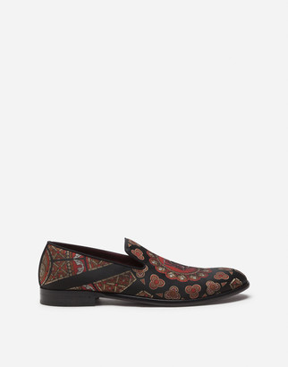 Dolce & Gabbana Jacquard Slippers With King Print