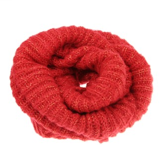 Jiahguk Women Winter Scarf Knitted Circle Pattern Neck Wraps Girls Ladies Fashion Round Loop O Ring Snood with Golden Silk Thick Warm InfinityNeckerchief Collar Loom Wrap Windproof Shawl Cowl for Adults