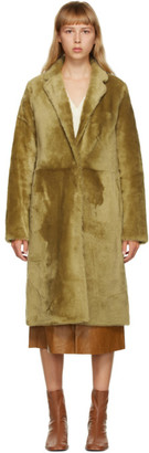 Yves Salomon Green Shearling Long Coat