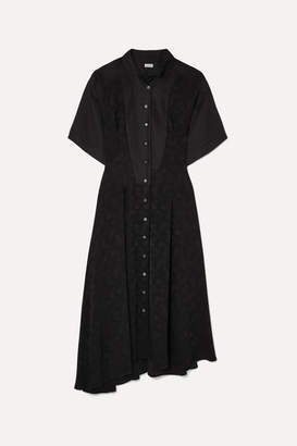 Loewe Asymmetric Paneled Satin-jacquard And Linen Midi Dress - Black