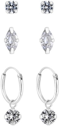 Simply Silver MARQUISE STUD AND CHARMED HOOP 3 PAC