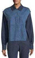 Public School Quasay Snap-Sleeves Two-Tone Denim Shirt