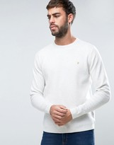 Farah Stones Crew Jumper Cotton Knit Slim Fit In Light Grey Marl