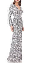 JS Collections Deep V-Neck Matelasse Gown