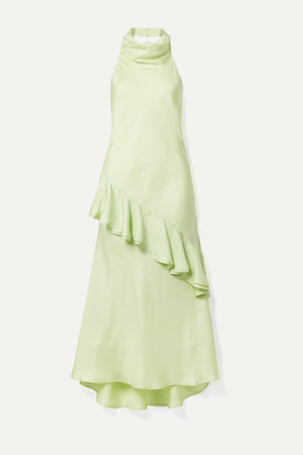 Maggie Marilyn Net Sustain Palm Springs Draped Ruffled Silk-satin Twill Midi Dress - Light green