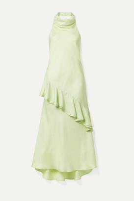 Maggie Marilyn Palm Springs Draped Ruffled Silk-satin Twill Midi Dress - Light green