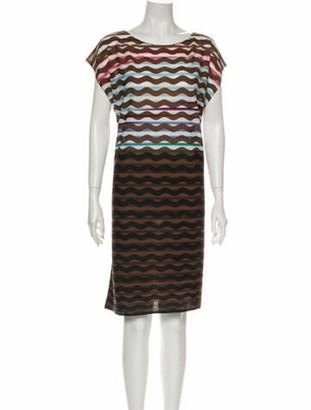 Pleats Please Issey Miyake Striped Midi Length Dress Brown
