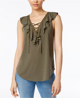 BCX Juniors' Ruffle Lace-Up Tank Top