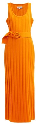 Mara Hoffman Harlow Ribbed Cotton Midi Dress - Womens - Orange