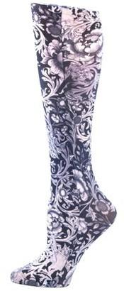 Celeste Stein Therapeutic Compression Socks, 15-20 mmHg, Black & White Vines & Roses