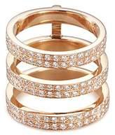 Repossi 'Berbère Monotype' diamond 18k rose gold three row phalanx ring