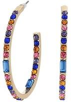 GUESS Multicolored Stone Inside Out Hoop Earrings (Gold/Multi) Earring
