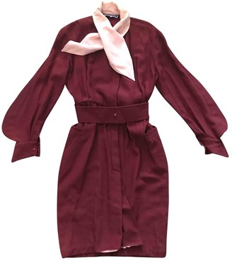 Thierry Mugler Burgundy Wool Dresses
