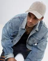 New Look Faux Suede Cap In Grey