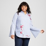 Merona Women's Plus Size Embroidered Button Down Shirt Blue