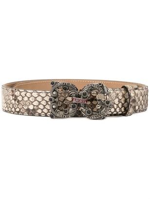 Dolce & Gabbana Snake Effect Logo Plaque Belt