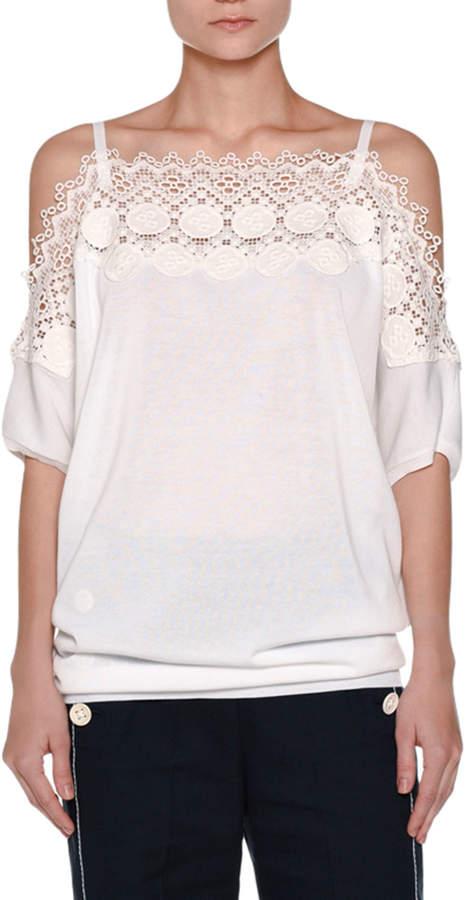 Agnona Lace-Trim Off-the-Shoulder Top, White