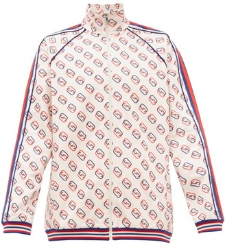 Gucci GG-print Web-striped Jersey Track-top - White Multi